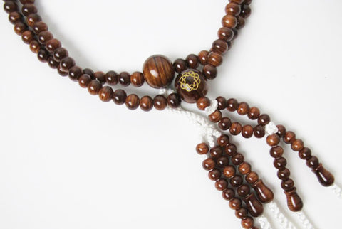 Suishu (Camphorwood) Beads with S.G.I. Logo and Silk Knitted Tassels