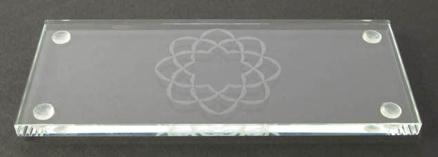 "6.75"" L Clear Glass Water Cup Table with S.G.I. Logo"