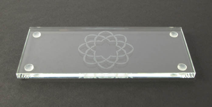 Glass Tray With S.G.I. Logo for Water & Rice Cup