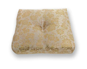 "Gold Square Bell Cushion with No Tassel for No. 3 (3.5"" Diameter) Bell"