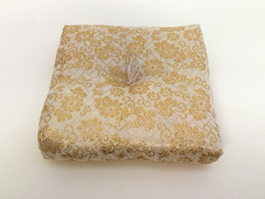 "Golden Floral Print Square Bell Cushion with out tassels for No. 5 (6.75"" Diameter) Bell"