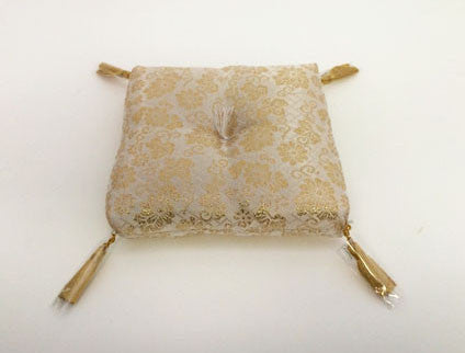 "Golden Floral Print Square Bell Cushion for No. 6 (7.75"" Diameter) Bell"