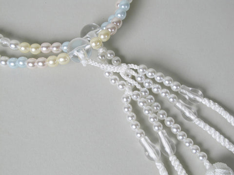 Pastel Pearl Beads with Knitted Tassels
