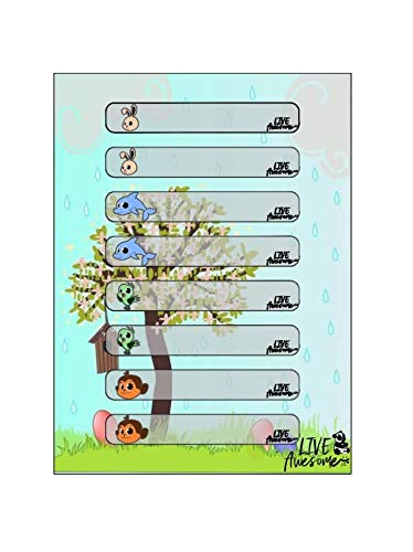 Cute Baby Bottle Labels for Daycare, Write-On, Self-Laminating, Self-Adhesive, Waterproof, Perfect for Every Season (Fall, Winter, Spring, Summer), 104 Labels with Animals