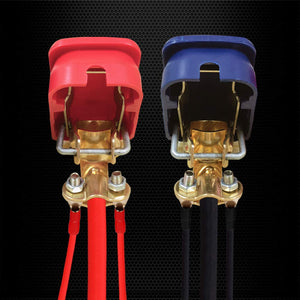 Ampper Quick Disconnect/Release Brass Battery Terminal Clamps, with Red (+) and Blue (-) Cover for Top Post Battery (1 Pair)