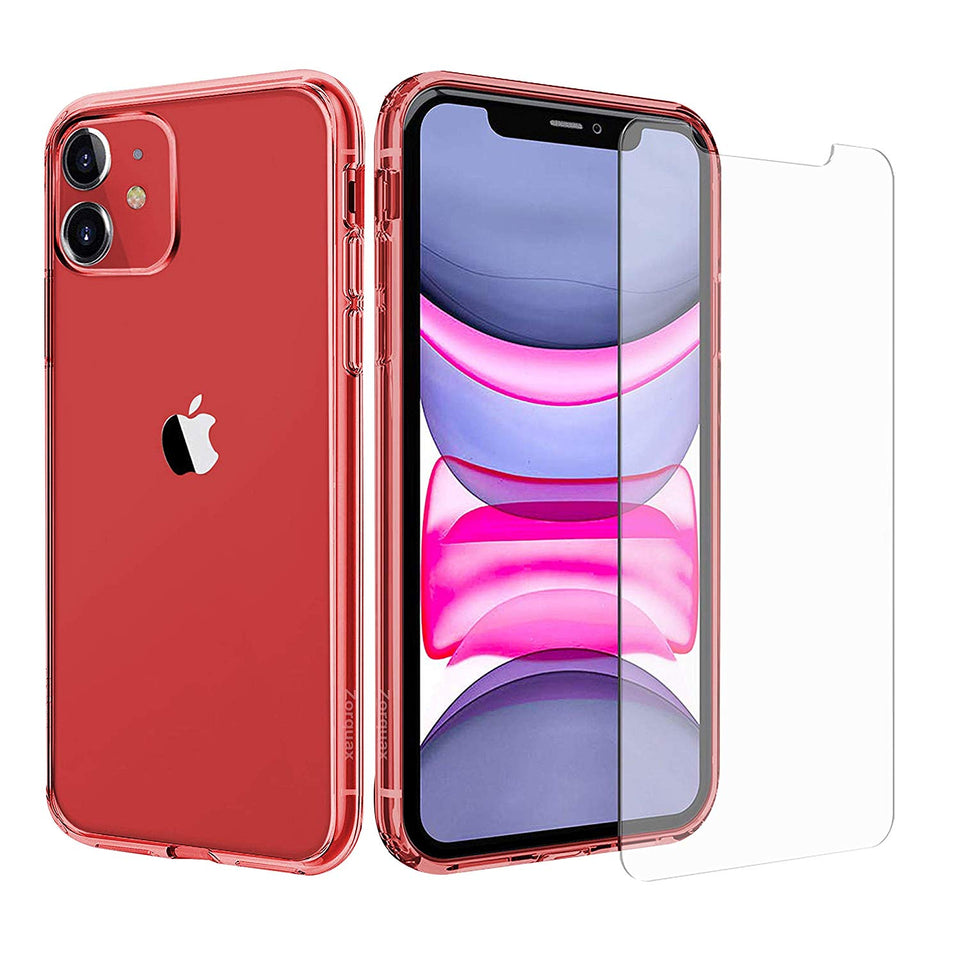 "iPhone 11 (6.1"") Zorquax Slim Transparent Clear Case Protection Pack Hybrid (Hard PC Back, Soft TPU Sides) Shockproof & Case-on Charging Case with Two (2X) 9H Tempered Glass Screen Protectors"