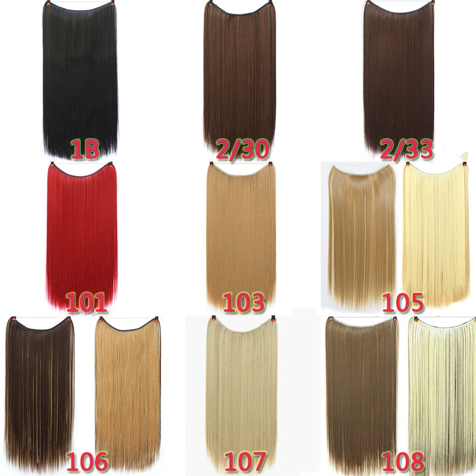 "JINKAILI 24"" Women Invisible Wire No Clips in Fish Line Hair Extensions Straight Wavy Long Heat Resistant Synthetic Hairpiece"
