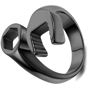 New Fashion Men's Ring Cool Biker Mechanic Wrench Stainless Steel Punk Style Rings for Man Size 8-13 anel masculino Male Jewelry