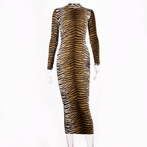 Leopard Print Autumn Winter Sleeve Slim Dress - Engineracing