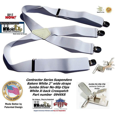 """USA made Bakers White 2"""" wide Contractor Series Holdup brand X-back suspenders with jumbo no-slip center pin clips"""