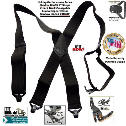 """Outdoorsmen Series Shadow BLACK X-back 2"""" wide work suspenders with patented jumbo no-slip clasps"""