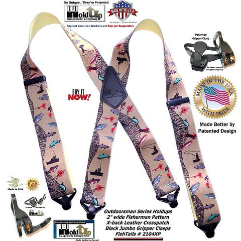 Outdoorsman Series Holdup X-back Fish Tales pattern suspenders with patented black jumbo Gripper clasps