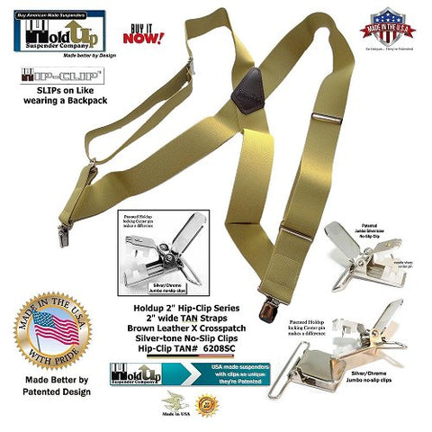 Holdup Tan wide Trucker style side  clip-on work suspenders with X-back crosspatch and they're made in the USA