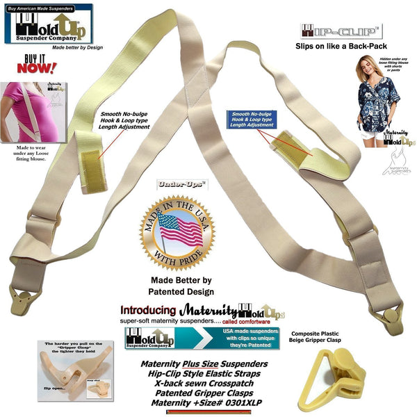 HoldUp Plus Size Maternity Hidden side clip Suspenders with beige Patented Gripper clasps
