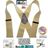Holdup Contractor Series SunTan beige Wide Work Suspenders in X-back style with Patented No-slip Silver Clips