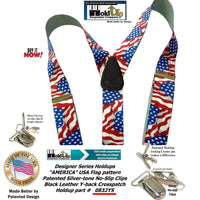 Holdup Brand USA America Flag Pattern Designer Series Y-back Suspenders with No-slip Silver-tone Clips