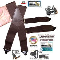 Holdup Heavy Duty Chestnut Brown Work Suspenders with black Patented Gripper Clasps