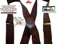 Holdup Heavy Duty Chestnut Brown Work Suspenders with Jumbo Silver No-slip Clips