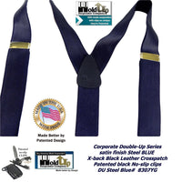 HoldUp Brand Dark Steel Blue Satin Finished Corporate Series Y-back Suspenders in Dual clip Double-Up style