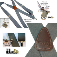HoldUp Brand Classic Series Grey X-back Suspenders with Patented Silver No-slip Clips
