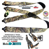 Holdup Suspender Company Mossy Oak Breakup Camoflage Pattern Suspenders in X-Back style and Patented Gripper Clasps