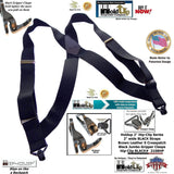 Black Hip-clip X-back Trucker style Holdup Suspenders with patented Gripper Clasps