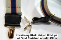 "Holdup Khaki Tan and Navy Blue Striped Suspenders  1 1/2"" wide X-back Style  w/ Patented Gold tone NO-SLIP clips"