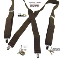 Hold-Ups Classic Dark Brown Suspenders with Silver No-slip Clips and X-back Leat