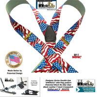 Holdup Brand Double-Ups Style Designer Series American Flag Pattern clip-on Suspenders