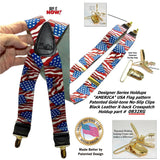 HoldUp Brand X-back Suspenders in USA American Flag Pattern with patented Gold-tone no-slip clips