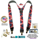 Holdup USA Flag Pattern Designer Series Y-back Suspenders with No-slip Gold-tone Clips