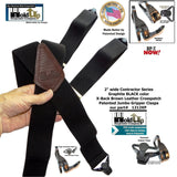 "Holdup Brand 2"" Wide Graphite Black X-back Suspenders with Patented Black Gripper Clasps"