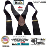 "HoldUp Big and Tall XL Graphite Black 2"" Contractor Series Suspenders with Gripper Clasps"
