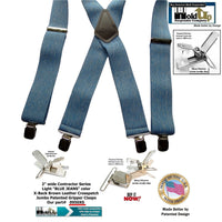 HoldUp Brand Blue Denim Clip-on Wide Work Suspenders with Silver No-slip Clips