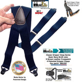 Classic Series Basic Blue Patented Gripper Clasp HoldUp Suspenders