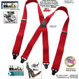 Holdup Brand XL Big and Tall size Classic Bright Red X-back Suspenders with Patented black Gripper Clasps