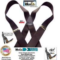 HoldUp Brand Basic Brown X-back Classic Series Holdup Suspenders with gripper clasps