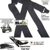 "Hold-Ups 1 1/2"" Wide All Black Hidden Undergarment Suspenders in XL Length with Black Gripper Clasps"