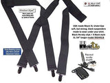 "Hold-Ups 1 1/2"" Wide All Black Hidden XL Undergarment Suspenders for Big and Tall Men"