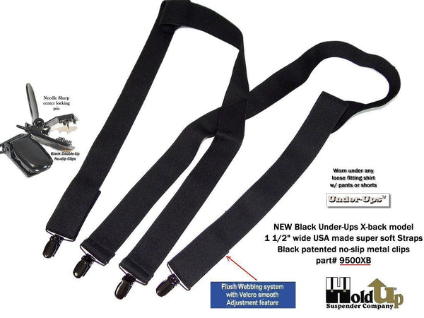 "All Black Hidden Undergarment Suspenders 1 1/2"" wide 48""long, X-back style with No-slip Clips"