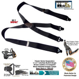 Holdup Brand Classic Series Basic Black X-back Suspenders With Black Gripper Clasps