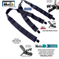 Holdup Wide All Black Undergarment Hidden X-back Suspenders with Patented Black Jumbo No-slip Clips