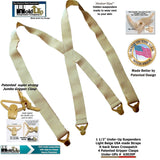 Holdup Brand Under-Up Series light tan hidden Suspenders with patented Tan Gripper Clasp