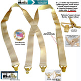 "USA Made XL Hold-Ups in a 1 1/2"" wide Undergarment Suspenders X-Back Patented Gripper Clasps"