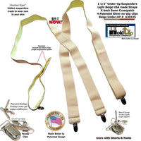 "Hold-Ups 1 1/2"" Wide Hidden Undergarment Suspenders in X-back style with patented No-slip Silver Clips"