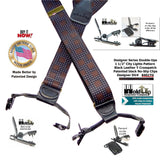 Holdup Designer Series Double-Up City Lights pattern Suspenders Patented with No-Slip Needle Point Pin Clips