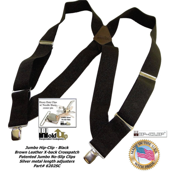 "Black Heavy Duty Trucker Style 2"" Wide Hip-Clip Suspenders with Patented silver tone no-slip jumbo clips"