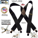 Wide XL Big and Tall Graphite Black Work Suspenders with Patented Silver tone Jumbo No-slip Clips
