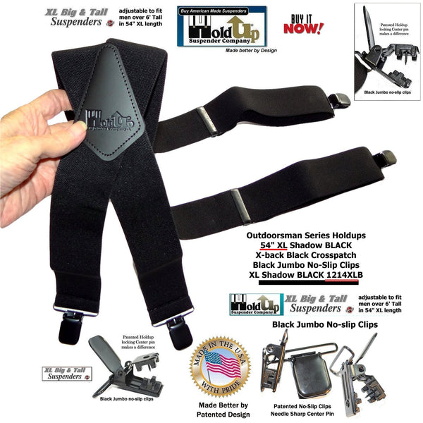 Hold-Ups Outdoorsman Series Shadow Black in longer XL length in a 2 inch wide Work Suspenders with Jumbo Black no-slip clips