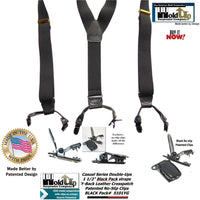 HoldUp Suspender Company's Black Pack Double-Up Style Dressy All black Y-back Suspenders with Patented No-slip clips